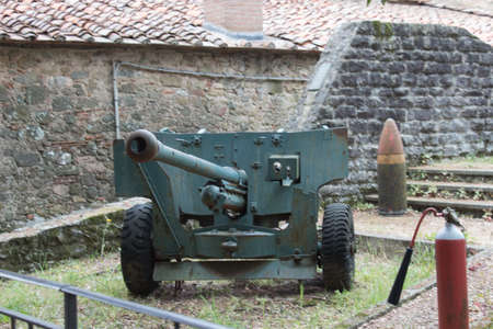 Italy, Montecatini Alto - April 25 2017: the view of weaponry inside ancient fortress of Montecatini Alto on April 25 2017 in  Tuscany, Italy.