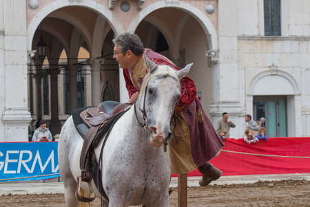 Italy, Brescia - October 01 2017: the view of the traditional knight tournament at celebrations of Caterina Cornaro is coming to the city, medieval festival in Brescia on October 01 2017, Lombardy, Italy.