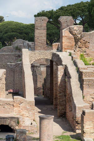 Italy, Ostia - April 16 2017: the view of terme del foro in The Ancient Roman Port of Ostia Antica on April 16 2017, Lazio, Italy. 写真素材 - 129475914