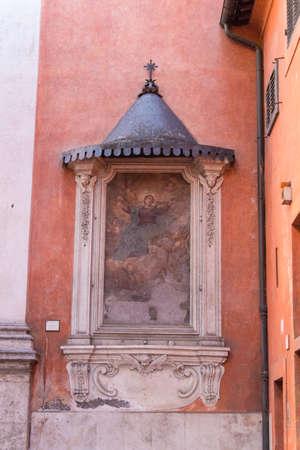 Italy, Rome - April 17 2017: the view of fresco Madonna Assunta in Via della Scala on April 17 2017, Lazio, Italy.