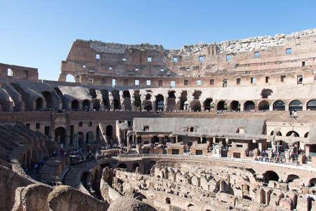 Italy, Rome - April 17 2017: the interior view of Roman Colosseum on April 17 2017, Lazio, Italy. 스톡 콘텐츠 - 130634213