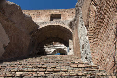 Italy, Rome - April 17 2017: the detailed view of Roman Colosseum inside on April 17 2017, Lazio, Italy. 에디토리얼