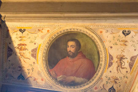 Italy, Florence - May 18 2017: the view of cardinal Ippolito deMedici portrait, Room of Leo X in medieval Palazzo Vecchio on May 18 2017 in Florence, Italy. Editorial