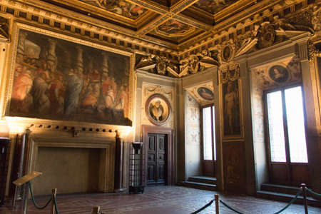 Italy, Florence - May 18 2017: the view of the Room of Leo X in medieval Palazzo Vecchio on May 18 2017 in Florence, Italy.