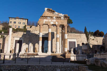 Italy, Brescia - December 24 2017: the view of the ancient Roman temple ruins of Capitolium in Brescia, UNESCO World Heritage Site on December 24 2017, Lombardy, Italy. 報道画像
