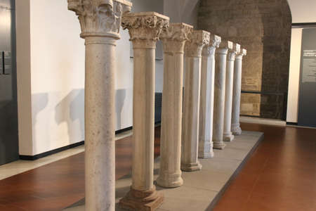 Italy, Brescia - December 24 2017: the view of Pillars representing architecture and decoration XI - XV centuries in Santa Giulia museum on December 24 2017 in Brescia, Lombardy, Italy. 報道画像