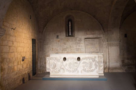 Italy, Brescia - December 24 2017: the view of the Frieze, Proconessus or Hymettius marble 2d -3d century A.D. from the monastery of San Salvatore and Santa Giulia on December 24 2017 in Brescia, Lombardy, Italy. 写真素材 - 133709495