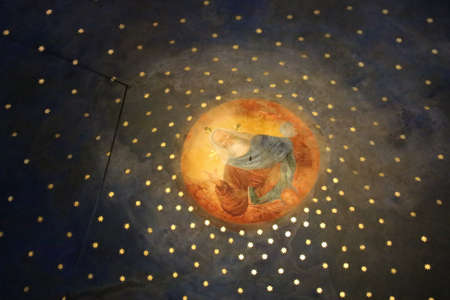 Italy, Brescia - December 24 2017: the view of the ceiling frescoes, 1520 a.d., of the vault of the Church Santa Maria in Solario on December 24 2017 in Brescia, Lombardy, Italy. 報道画像