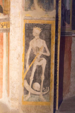 Italy, Brescia - December 24 2017: the view of the frescoe by Floriano Ferramola and his school, 1513-1524, in the Church Santa Maria in Solario on December 24 2017 in Brescia, Lombardy, Italy. 写真素材 - 133709503