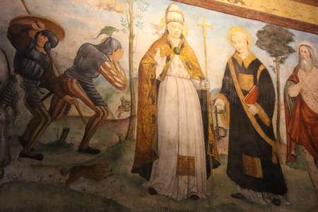 Italy, Brescia - December 24 2017: the view of the frescoe by Floriano Ferramola and his school, 1513-1524, in the Church Santa Maria in Solario on December 24 2017 in Brescia, Lombardy, Italy. 写真素材 - 133709505