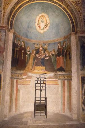 Italy, Brescia - December 24 2017: the view of the frescoe by Floriano Ferramola and his school, 1513-1524, in the Church Santa Maria in Solario on December 24 2017 in Brescia, Lombardy, Italy. 写真素材 - 133709509