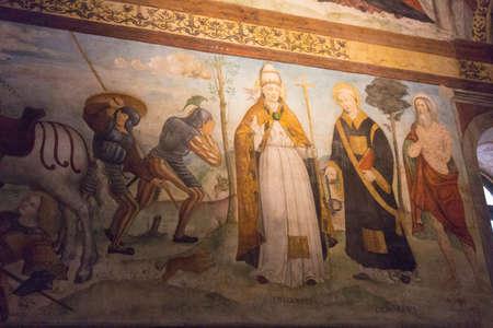Italy, Brescia - December 24 2017: the view of the frescoe by Floriano Ferramola and his school, 1513-1524, in the Church Santa Maria in Solario on December 24 2017 in Brescia, Lombardy, Italy. 写真素材 - 133709510