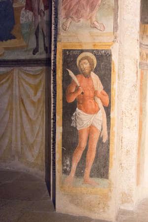 Italy, Brescia - December 24 2017: the view of the frescoe by Floriano Ferramola and his school, 1513-1524, in the Church Santa Maria in Solario on December 24 2017 in Brescia, Lombardy, Italy. 写真素材 - 133709506