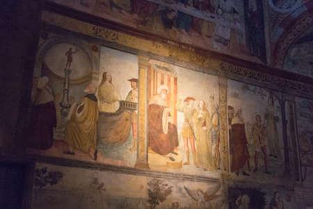 Italy, Brescia - December 24 2017: the view of the frescoe by Floriano Ferramola and his school, 1513-1524, in the Church Santa Maria in Solario on December 24 2017 in Brescia, Lombardy, Italy. 写真素材 - 133709507