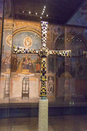 Italy, Brescia - December 24 2017: the front view of the Desiderius' Cross, end of 8 century, in the Church Santa Maria in Solario of Santa Giulia museum on December 24 2017 in Brescia, Lombardy, Italy. 写真素材 - 133709511