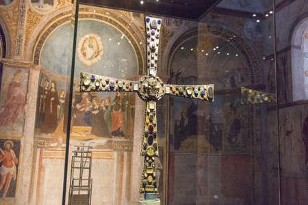 Italy, Brescia - December 24 2017: the front view of the Desiderius' Cross, end of 8 century, in the Church Santa Maria in Solario of Santa Giulia museum on December 24 2017 in Brescia, Lombardy, Italy. 写真素材 - 133709513