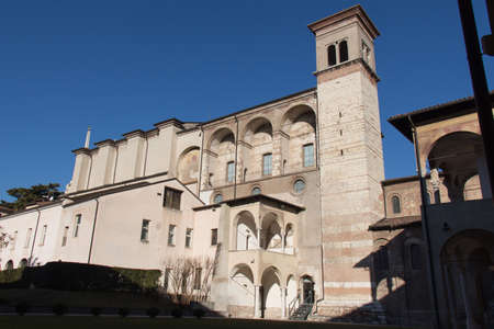 Italy, Brescia - December 24 2017: the front view of The Benedictine monastery of San Salvatore and Santa Giulia on December 24 2017 in Brescia, Lombardy, Italy. 写真素材 - 133709514