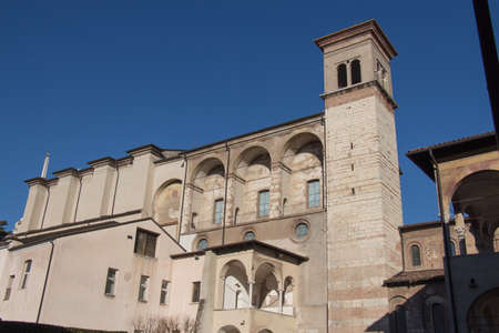 Italy, Brescia - December 24 2017: the front view of The Benedictine monastery of San Salvatore and Santa Giulia on December 24 2017 in Brescia, Lombardy, Italy. 写真素材 - 133709515