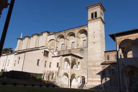 Italy, Brescia - December 24 2017: the front view of The Benedictine monastery of San Salvatore and Santa Giulia on December 24 2017 in Brescia, Lombardy, Italy. 写真素材 - 133709516