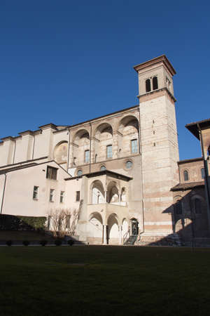 Italy, Brescia - December 24 2017: the front view of The Benedictine monastery of San Salvatore and Santa Giulia on December 24 2017 in Brescia, Lombardy, Italy. 写真素材 - 133709517