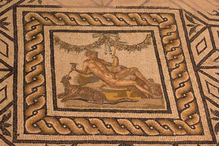Italy, Brescia - December 24 2017: the view of mosaic floor of the Domus of Dionysus in the Museum of Santa Giulia on December 24 2017 in Brescia, Lombardy, Italy. 写真素材 - 133709538