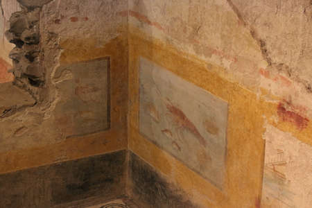 Italy, Brescia - December 24 2017: the view of the small Roman fresco Lobster and fish of the 2nd century AD in the Domus of Dionysus in the Museum of Santa Giulia on December 24 2017 in Brescia, Lomb 報道画像