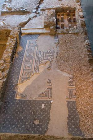 Italy, Brescia - December 24 2017: the view of the floor fragment of Duomus dell'Ortaglia in the Museum of Santa Giulia on December 24 2017 in Brescia, Lombardy, Italy. 写真素材 - 133709543