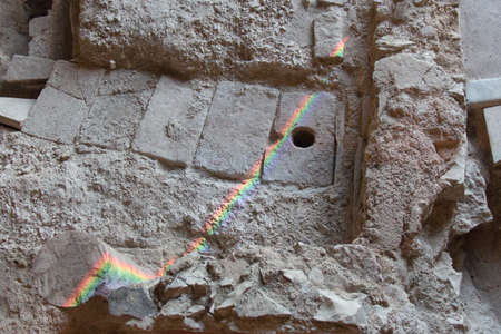 Italy, Brescia - December 24 2017: the view of the rainbow on the floor fragment of Duomus dell'Ortaglia in the Museum of Santa Giulia on December 24 2017 in Brescia, Lombardy, Italy. 写真素材 - 133709544