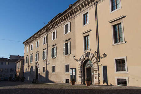 Italy, Brescia - December 24 2017: the front view of the Martinengo Cesaresco Novarino Palace in a sunny day on December 24 2017 in Brescia, Lombardy, Italy. 写真素材 - 133709554