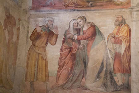 Italy, Brescia - December 24 2017: the view of wall frescoes in San Salvatore Monastery and Santa Giulia museum on December 24 2017 in Brescia, Lombardy, Italy. 報道画像