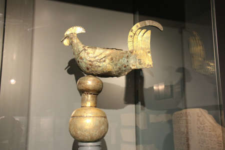 Italy, Brescia - December 24 2017: the view of the weathercock of 820 DC inside the Museum of Santa Giulia on December 24 2017 in Brescia, Lombardy, Italy.