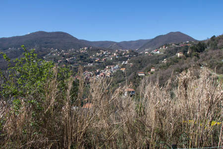 The view of villages houses in the mountains, La Spezia, Liguria, Italy. 写真素材