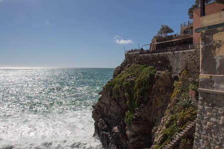 The view of landscape and sea near Riomaggiore in the National Park of Cinque Terre, Liguria, Italy.