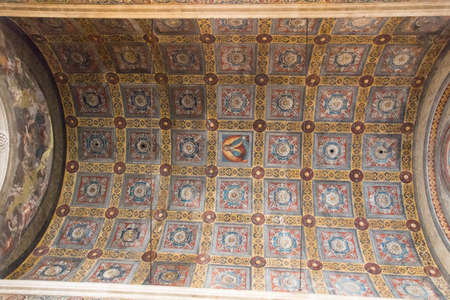 Italy, Brescia - December 24 2017: the view of ceiling of Choir of the nuns in San Salvatore Monastery of Santa Giulia museum on December 24 2017 in Brescia, Lombardy, Italy.