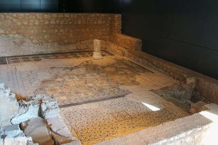 Italy, Brescia - December 24 2017: the view of the remains of Duomus dellOrtaglia inside the Museum of Santa Giulia on December 24 2017 in Brescia, Lombardy, Italy.