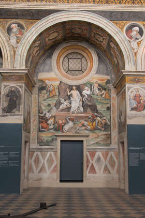 Italy, Brescia - December 24 2017: the view of wall frescoes of Choir of the nuns in San Salvatore Monastery of Santa Giulia museum on December 24 2017 in Brescia, Lombardy, Italy. 報道画像