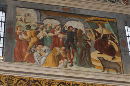 Italy, Brescia - December 24 2017: the view of wall frescoes by Floriano Ferramola of Choir of the nuns in San Salvatore Monastery of Santa Giulia museum on December 24 2017 in Brescia, Lombardy, Ital