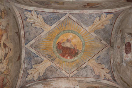 Italy, Brescia - December 24 2017: the view of ceiling frescoes in San Salvatore Monastery and Santa Giulia museum on December 24 2017 in Brescia, Lombardy, Italy.