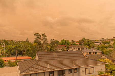 New Zealand, North Island - January 5 2020: the view of haze in the sky  from Australia's bushfires hangs over North Shore on January 5 2020 in Auckland, New Zealand.