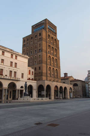 Brescia, Italy - August 1 2018: the view of the Piazza della Vittoria on August 1 2018, Lombardy, Italy.