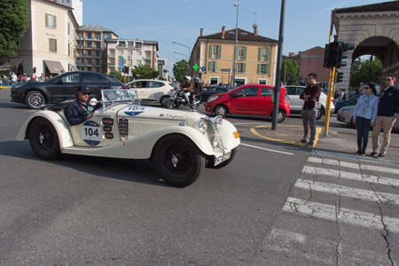 Brescia, Italy - May 19 2018: RILEY SPRITE 1936 is an old racing car in rally Mille Miglia 2018, live shot at the famous italian historical race on May 19 2018 in Brescia, Italy.