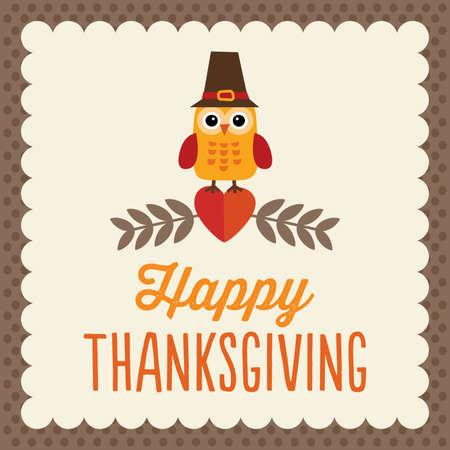 accion de gracias: Diseño de la tarjeta del día de Acción de Gracias con retro lindo búho en el sombrero del peregrino Vectores