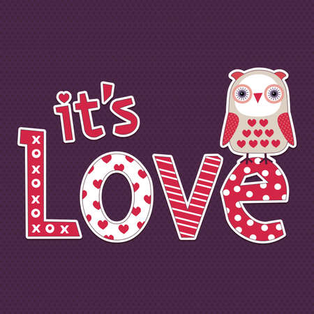 Retro style illustration with cute little owl for love cards or posters   向量圖像