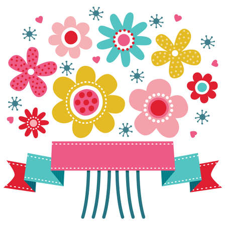 Cute greeting card template with bright colored retro flower posy and ribbon banner