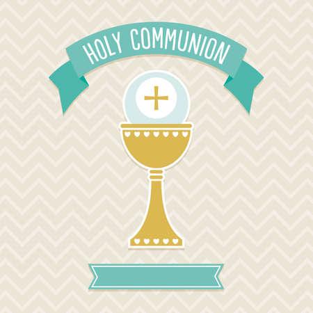 Eerste Heilige Communie kaart sjabloon in crème en aqua met een kopie ruimte voor het personaliseren