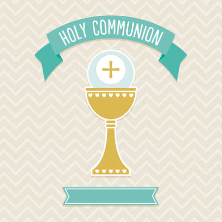 religious text: First Holy Communion card template in cream and aqua with copy space for personalizing