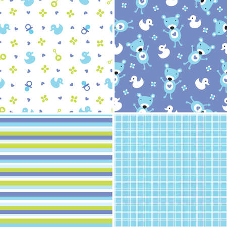 bright card: Set of four seamless retro style background patterns for boys