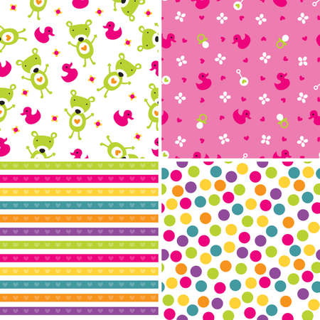 Set of four seamless retro style background patterns for girls in pink and green  向量圖像