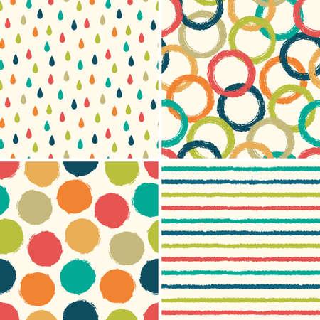 gotas de agua: Conjunto de cuatro patrones de fondo inconformista sin costura en colores retro