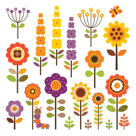 garden path: Vector set of retro flowers in warm autumn colors with caterpillar and butterfly   Isolated on white - includes clipping paths  Illustration